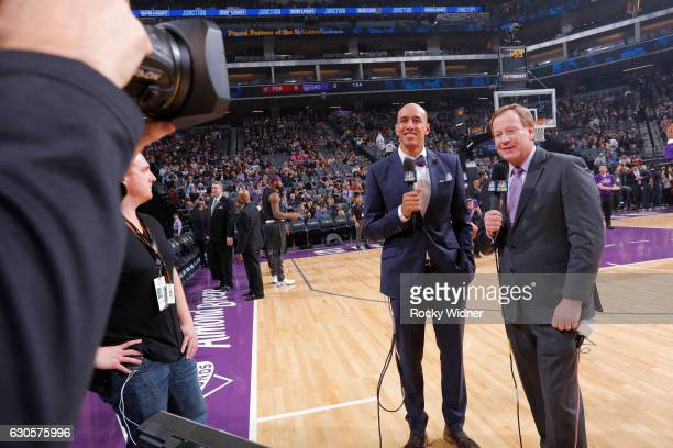 Former NBA player Doug Christie and Sacramento Kings broadcaster Grant Napear prior to the game against the Portland Trail Blazers on December 20...