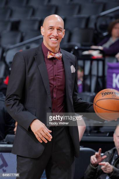 Former nba player Doug Christie attends the game between the Utah Jazz and Sacramento Kings on March 5 2017 at Golden 1 Center in Sacramento...