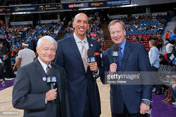 Former NBA player Doug Christie join Sacramento Kings broadcasters Jerry Reynolds and Grant Napear during the game between the Los Angeles Lakers and...
