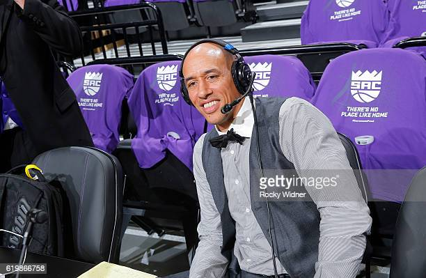 Former NBA player Doug Christie speaks with media during the game between the San Antonio Spurs and Sacramento Kings on October 27 2016 at Golden 1...