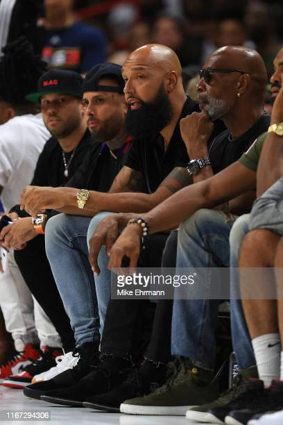 Former NBA player Drew Gooden looks on courtside during week eight of the BIG3 three on three basketball league at AmericanAirlines Arena on August...