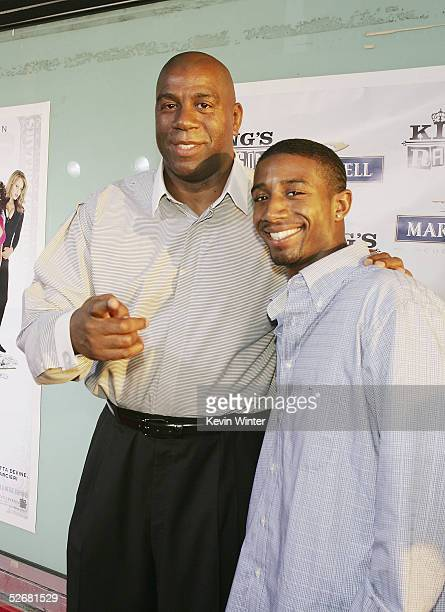 Former NBA player Earvin Magic Johnson and his son Andre arrive at the premiere of New Line's King's Ransom at the Cinerama Dome on April 21 2005 in...