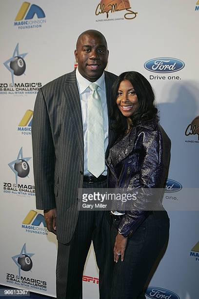 Former NBA player Earvin Magic Johnson and his wife Cookie arrive at Zo and Magic's 8Ball Challenge at Centennial Hall at Fair Park on February 11...