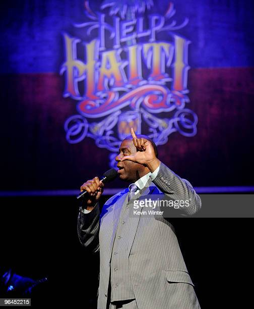 Former NBA player Earvin Magic Johnson appears onstage at Help Haiti with George Lopez Friends at LA Live's Nokia Theater on February 4 2010 in Los...