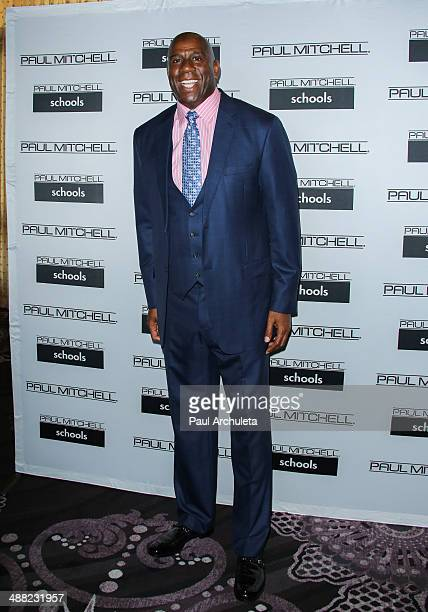 Former NBA Player Earvin 'Magic' Johnson attends Paul Mitchell Schools' 11th annual FUNraising Gala at The Beverly Hilton Hotel on May 4 2014 in...