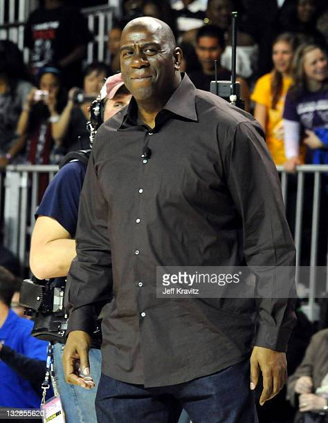 """Former NBA player Earvin """"Magic"""" Johnson during the 2011 BBVA NBA All-Star Celebrity Game at Los Angeles Convention Center on February 18, 2011 in..."""