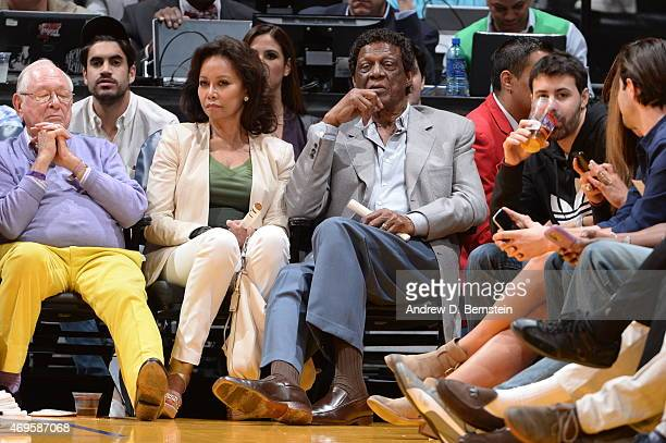 Former NBA Player Elgin Baylor attends the Dallas Mavericks game against the Los Angeles Lakers on April 12 2015 at Staples Center in Los Angeles...