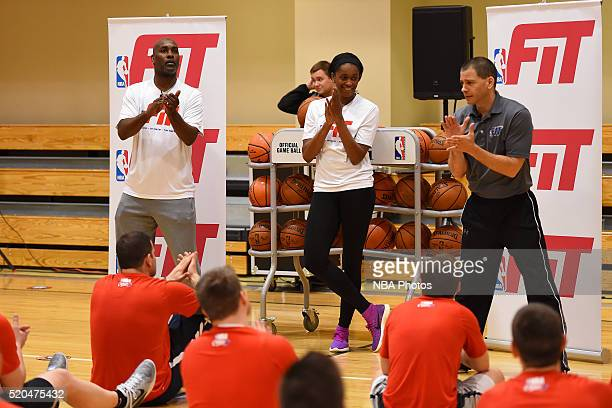 Former NBA player Gary Payton and Swin Cash of the New York Liberty talk to kids during an NBA FIT Clinc on April 6 2016 at Dick's Sporting Goods in...
