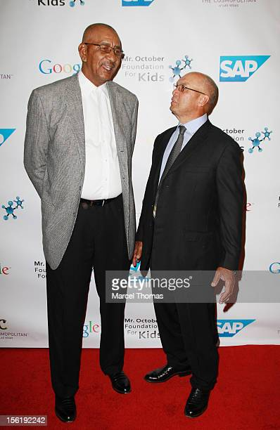 Former NBA player George 'The Iceman' Gervin and MLB Hall of Fame legend Reggie Jackson attend the 8th All Star Celebrity Classic benefiting the Mr...