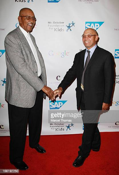 Former NBA player George The Iceman Gervin and MLB Hall of Fame legend Reggie Jackson attend the 8th All Star Celebrity Classic benefiting the Mr...