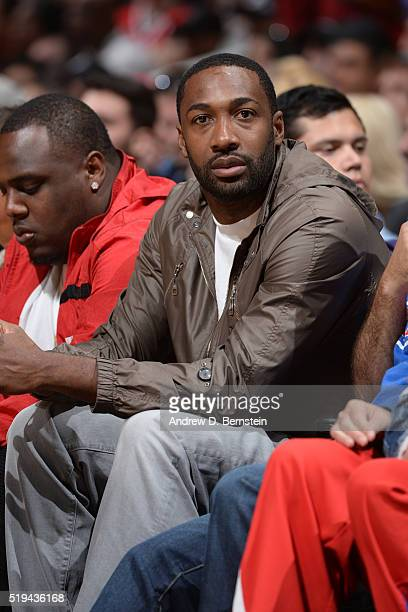 Former NBA player Gilbert Arenas attends the Washington Wizards game against the Los Angeles Clippers at STAPLES Center on April 03 2016 in Los...