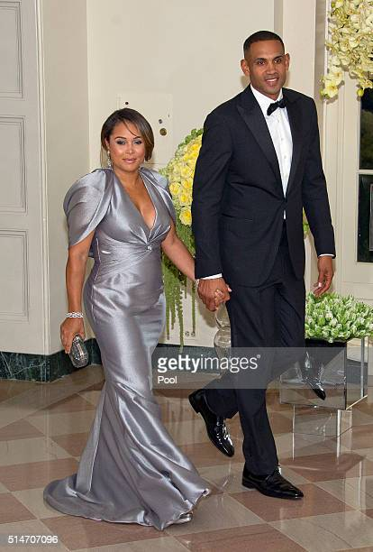 Former NBA player Grant Hill and member of The Presidents Council on Fitness Sports Nutrition and Tamia Hill arrive for the State Dinner at the White...
