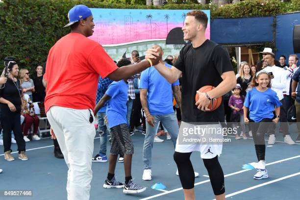 Former NBA player, Jason Collins and Blake Griffin of the LA Clippers attend the Michael B. Jordan Jam event at The Ritz-Carlton Marina del Rey on...