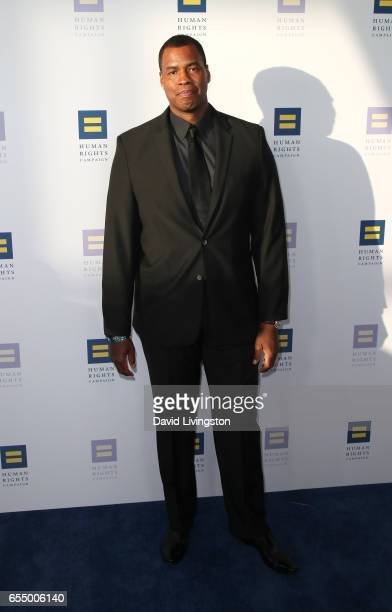Former NBA player Jason Collins attends the Human Rights Campaign's 2017 Los Angeles Gala Dinner at JW Marriott Los Angeles at L.A. LIVE on March 18,...