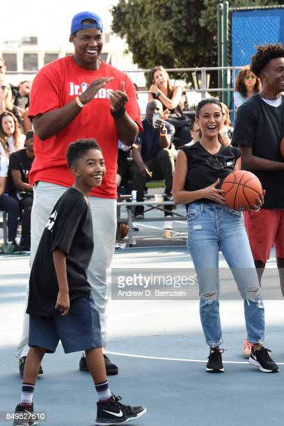 Former NBA player, Jason Collins with Actors, Emmanuelle Chriqui and Miles Brown celebrate during the Michael B. Jordan Jam event at The Ritz-Carlton...