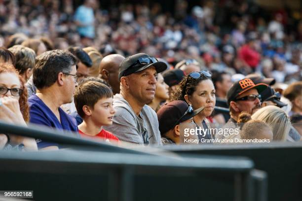 Former NBA player Jason Kidd watches an MLB game between the Arizona Diamondbacks and the Houston Astros on May 4 2018 at Chase Field in Phoenix...