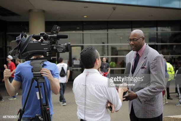 Former NBA player Jerome Kersey speaks to the media before a game with the Houston Rockets against the Portland Trail Blazers in Game Six of the...