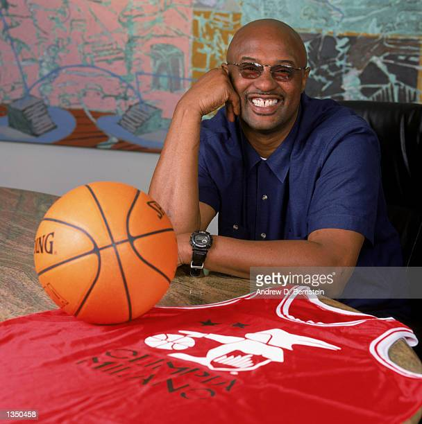 "Former NBA player Joe ""Jellybean"" Bryant poses for a portrait with an Olimpia Milano jersey after his son, guard Kobe Bryant of the Los Angeles..."