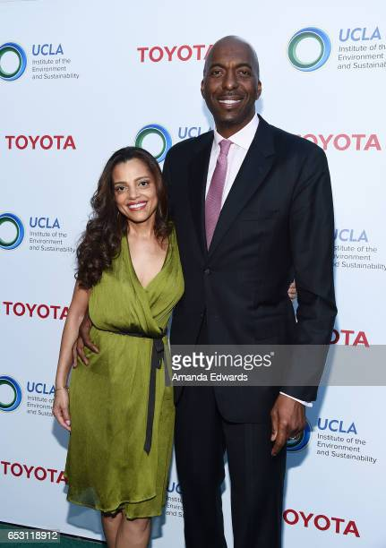 Former NBA player John Salley and Natasha Duffy arrive at the UCLA Institute of the Environment and Sustainability Innovators for a Healthy Planet...
