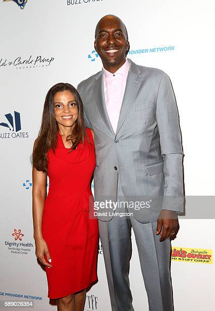 Former NBA player John Salley and Natasha Duffy attend 16th Annual Harold and Carole Pump Foundation Gala at The Beverly Hilton Hotel on August 12...