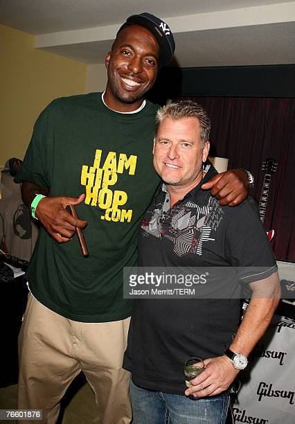 Former NBA player John Salley and talent manager Joe Simpson at the STAR LOUNGE presented by Hard Rock Hotel and Rolling Stone on August 8, 2007 in...