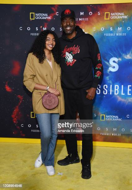 Former NBA player John Salley and Taya Salley arrive at National Geographic's Cosmos Possible Worlds Los Angeles Premiere at Royce Hall UCLA on...