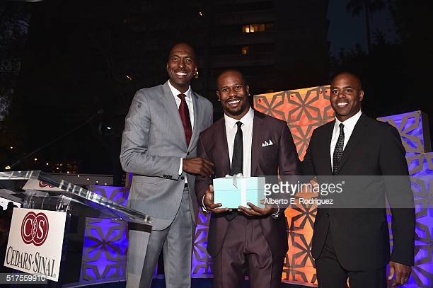 Former NBA player John Salley honoree Von Miller and TV personality Kevin Frazier attend the CedarsSinai Sports Spectacular at W Los Angeles – West...