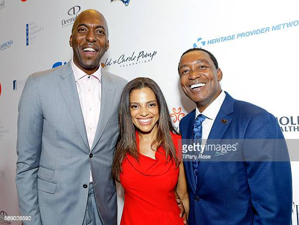 Former NBA player John Salley Natasha Duffy and former NBA player Isiah Thomas attend the 16th Annual Harold Carole Pump Foundation Gala at The...