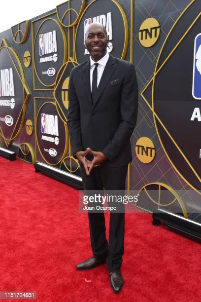 Former NBA player John Salley poses for a photo on the red carpet before the 2019 NBA Awards Show on June 24 2019 at Barker Hangar in Santa Monica...
