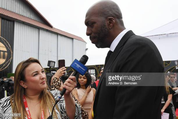Former NBA player John Salley speaks to the media before the 2019 NBA Awards Show on June 24 2019 at Barker Hangar in Santa Monica California NOTE TO...