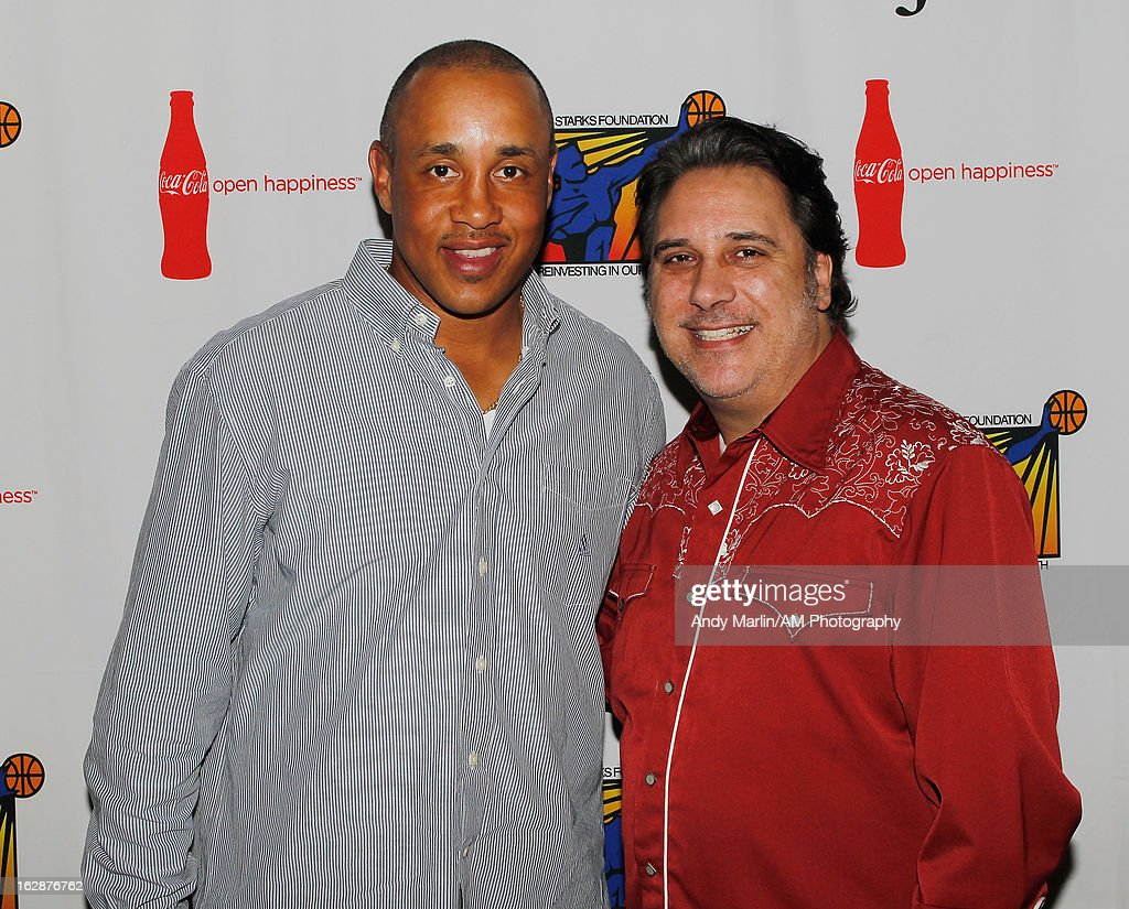 Former NBA player John Starks (L) and actor Lou Martini Jr. pose for a photo during the John Starks Foundation Celebrity Bowling Tournament on February 25, 2013 in New York City.