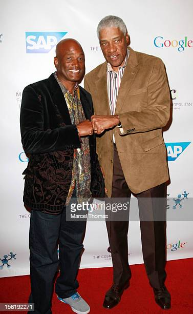 Former NBA player Julius 'Dr J' Erving and playwright Kenny Leon attend the 8th All Star Celebrity Classic benefiting the Mr October Foundation for...