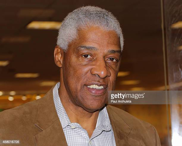 Former NBA Player Julius Erving signs his new book 'Dr J The Autobiography' at Barnes Noble bookstore at The Grove on December 19 2013 in Los Angeles...