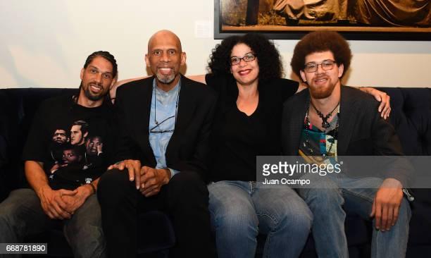 Former NBA player Kareem Abdul Jabbar and his kids Kareem Jr Sultana and Adam pose for a photo during Kareem Abdul Jabbar's 70th birthday celebration...