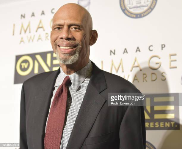 Former NBA player Kareem Abdul Jabbar arrives at 48th NAACP Image Dinner at Pasadena Convention Center on February 10 2017 in Pasadena California