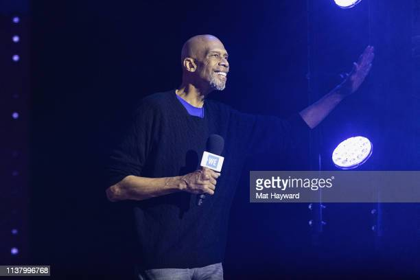 Former NBA player Kareem AbdulJabar speaks on stage during WE Day at Tacoma Dome on April 18 2019 in Tacoma Washington