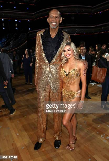 Former NBA player Kareem AbdulJabbar and dancer/TV personality Lindsay Arnold pose at ABC's Dancing with the Stars Athletes Season 26 Finale on May...