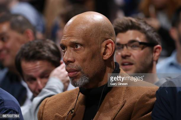 Former NBA player Kareem Abdul-Jabbar is seen at the game between the Milwaukee Bucks and the Denver Nuggets on March 1, 2017 at the BMO Harris...