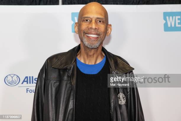 Former NBA player Kareem AbdulJabbar poses for a photo during WE Day at Tacoma Dome on April 18 2019 in Tacoma Washington