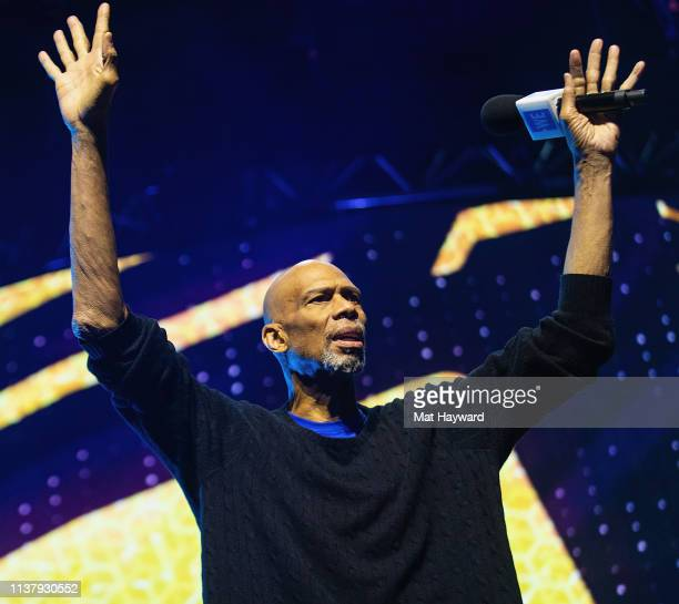 Former NBA player Kareem AbdulJabbar speaks on stage during WE Day at Tacoma Dome on April 18 2019 in Tacoma Washington