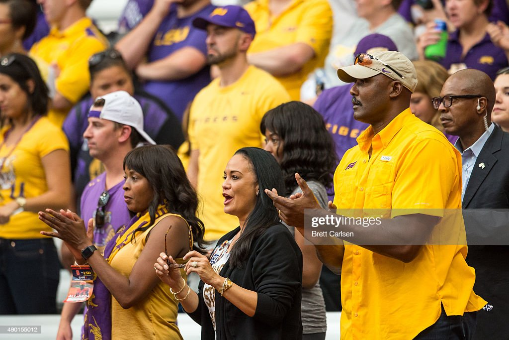Former NBA player Karl Malone cheers on the LSU Tigers against the Syracuse Orange on September 26, 2015 at The Carrier Dome in Syracuse, New York. LSU defeats Syracuse 34-24.