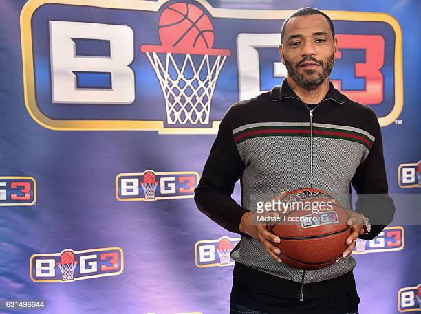 Former NBA player Kenyon Martin attends a press conference announcing the launch of the BIG3 a new professional 3on3 basketball league on January 11...