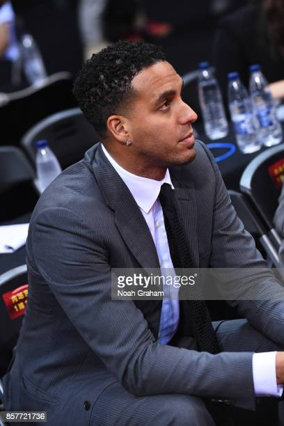 Former NBA player Kevin Martin attends the Minnesota Timberwolves game against the Golden State Warriors as part of 2017 NBA Global Games China on...