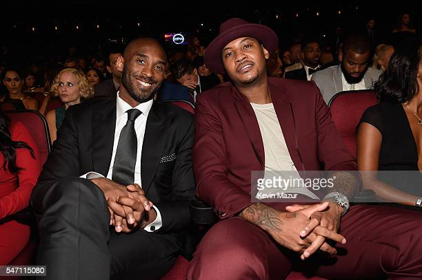 Former NBA player Kobe Bryant and NBA player Carmelo Anthony attend the 2016 ESPYS at Microsoft Theater on July 13 2016 in Los Angeles California