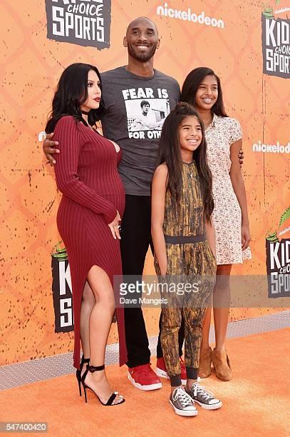 former NBA player Kobe Bryant and Vanessa Laine Bryant Gianna MariaOnore Bryant and Natalia Diamante Bryant attend the Nickelodeon Kids' Choice...