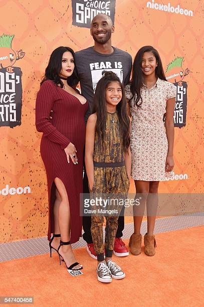 former NBA player Kobe Bryant and Vanessa Laine Bryant Gianna MariaOnore Bryant and Natalia Diamante Bryant attend the Nickelodeon Kids' Choice...