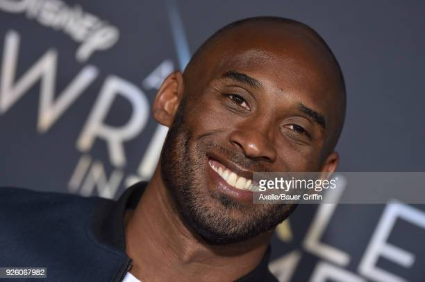 Former NBA player Kobe Bryant arrives at the premiere of Disney's 'A Wrinkle In Time' at El Capitan Theatre on February 26 2018 in Los Angeles...