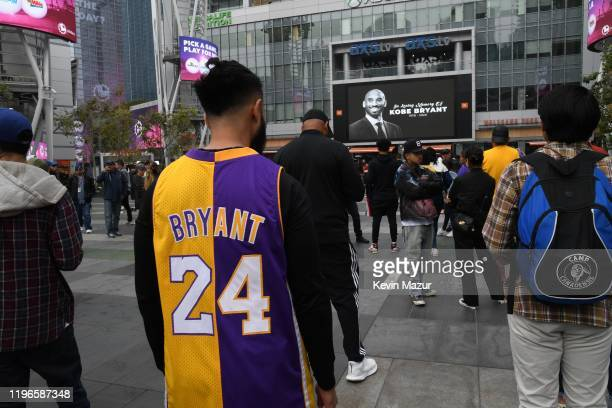 Former NBA player Kobe Bryant is remembered outside the 62nd Annual GRAMMY Awards at STAPLES Center on January 26 2020 in Los Angeles California...