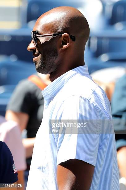 Former NBA player Kobe Bryant is seen prior to the Men's Singles third round match between Roger Federer of Switzerland and Daniel Evans of Great...