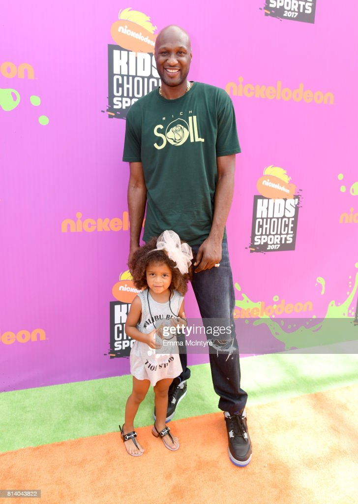 Former NBA player Lamar Odom and guest attend Nickelodeon Kids' Choice Sports Awards 2017 at Pauley Pavilion on July 13, 2017 in Los Angeles, California.